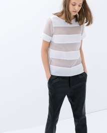 see through Zara white blouse